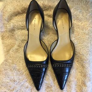 Tahari Nadia Leather Mock Croc Kitten Heel 7.5M